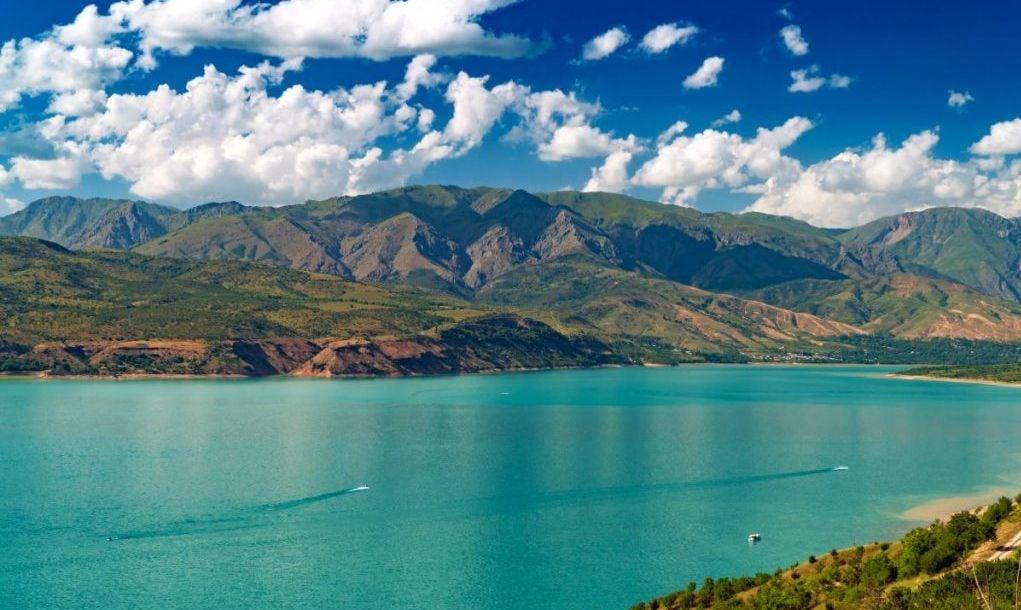 Lake in mountains on summer, Charvak, Uzbekistan