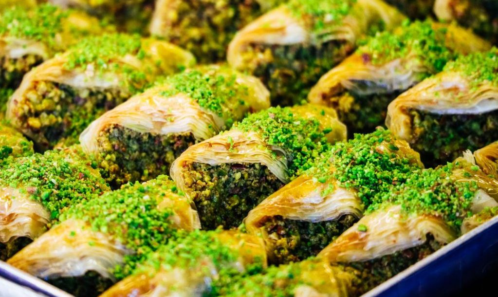 A tray with turkish dessert baklava, Istanbul grand bazzar.