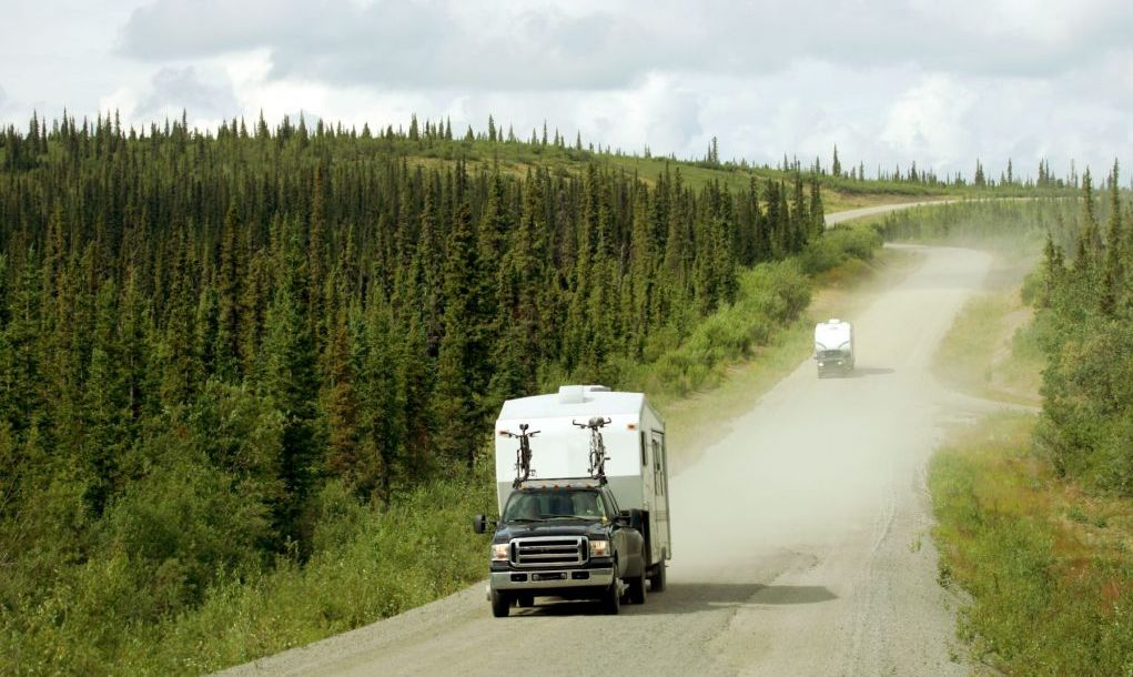 """RV on Dempster Highway above Arctic Circle, Canada"""