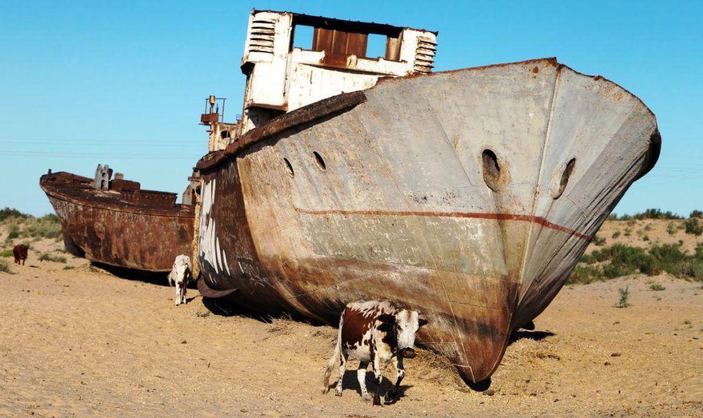Boats in desert around Moynaq, Muynak or Moynoq - Aral sea or Aral lake