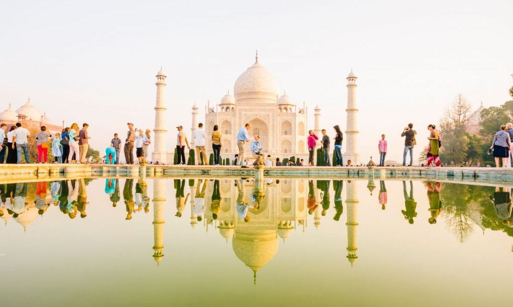 Tourists visit the Taj Mahal, Agra, India