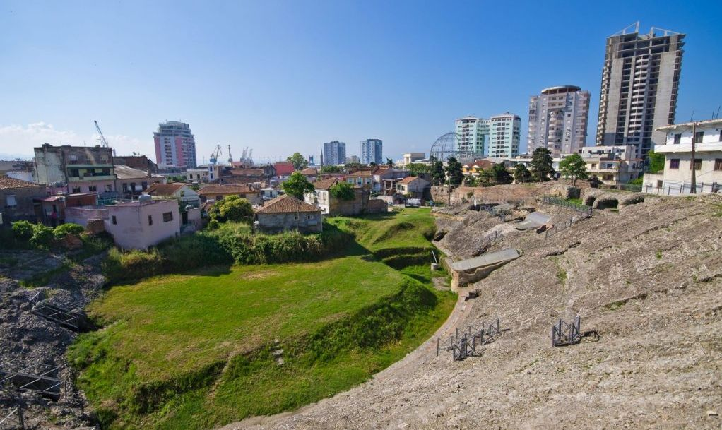 Old roman amphitheater in Durres, Albania