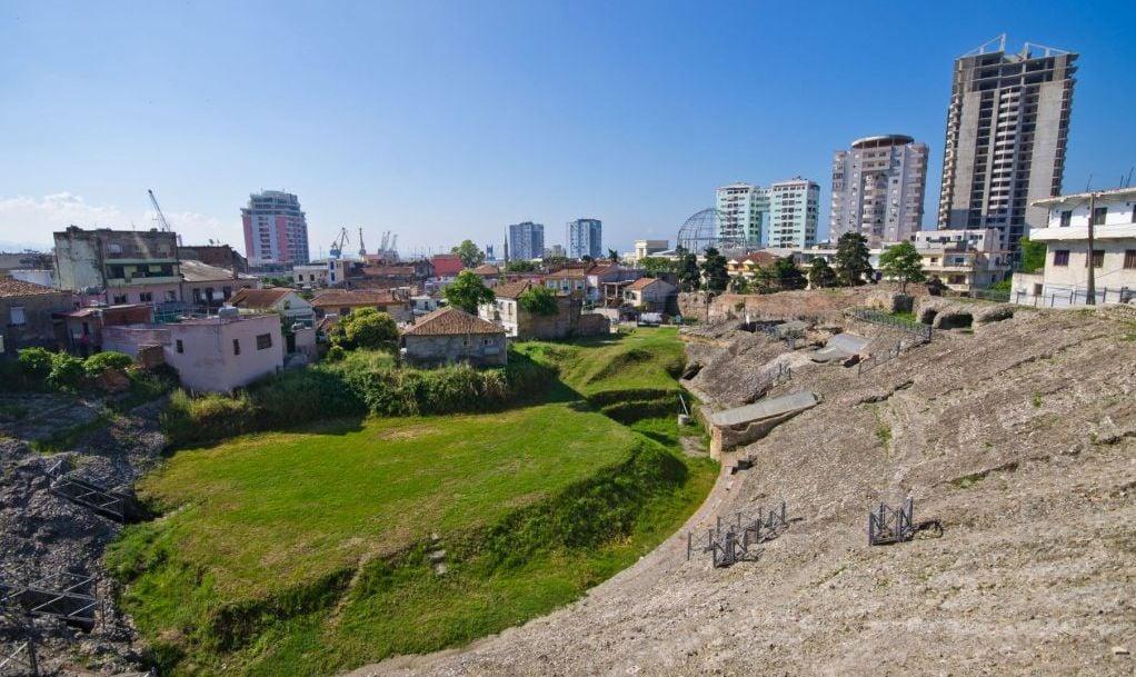 Old roman amphitheater in Durres, Albania