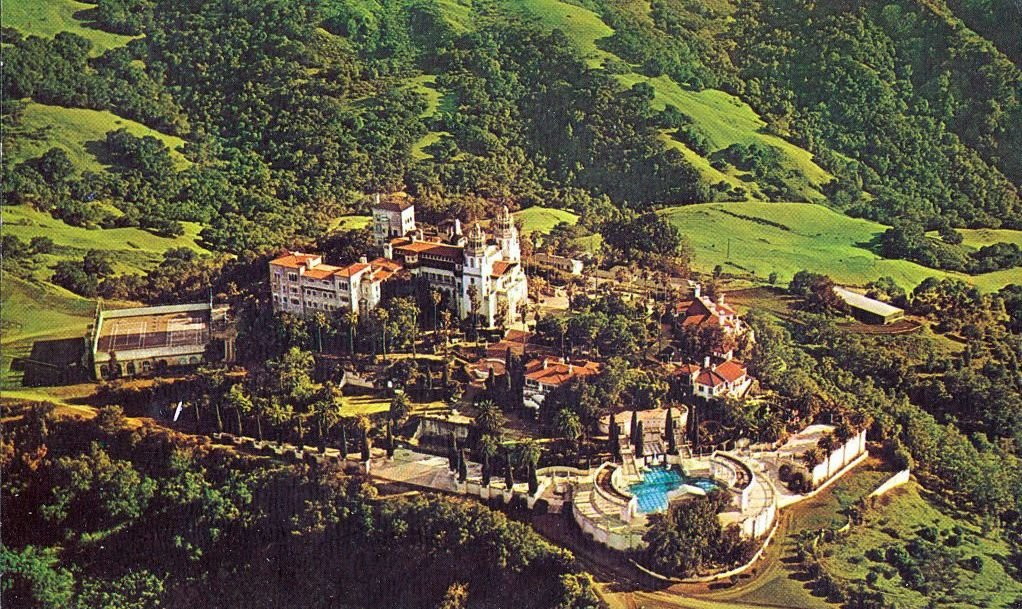 Aerial View of Hearst Castle and Grounds, San Simeon, California, on Coast Highway 1, 1945.