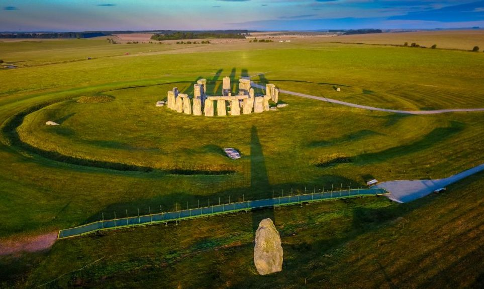 Sunrise and long shadows at Stonehenge