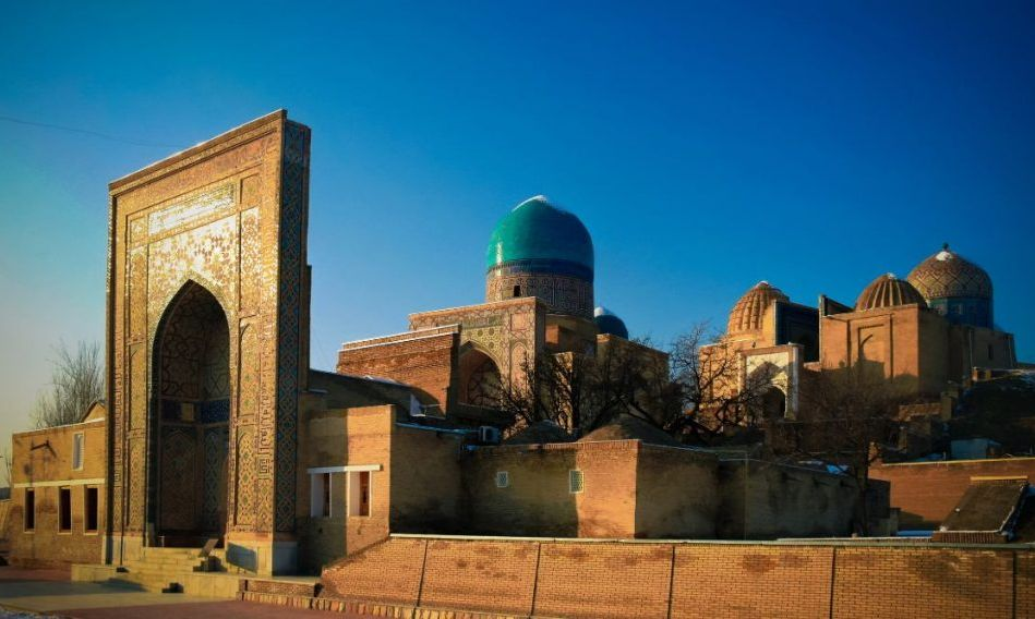 Exterior view to Shah-i-Zinda necropolis in Samarkand in Usbekistan