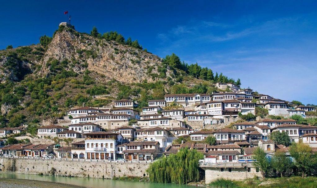 old houses in historic landmark berat balkan town albania
