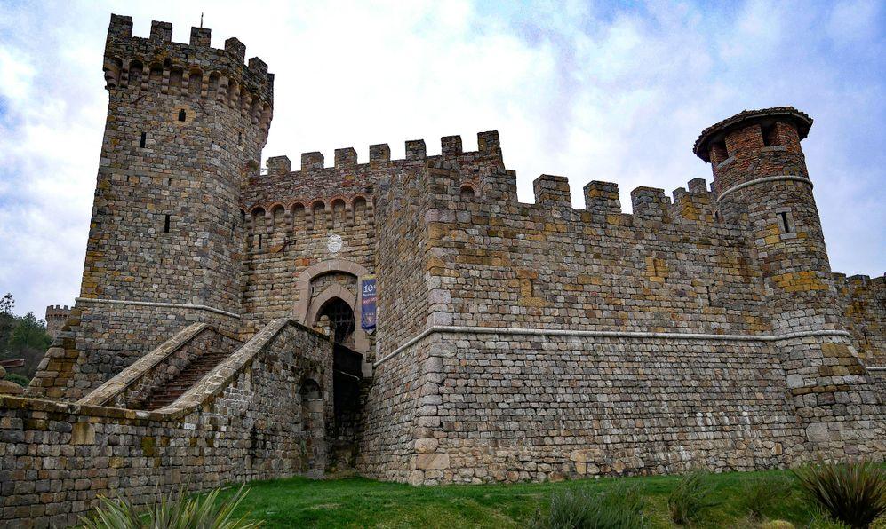Outside of Castello di Amorosa, Huge castle and winery located near Calistoga in Napa Valley California