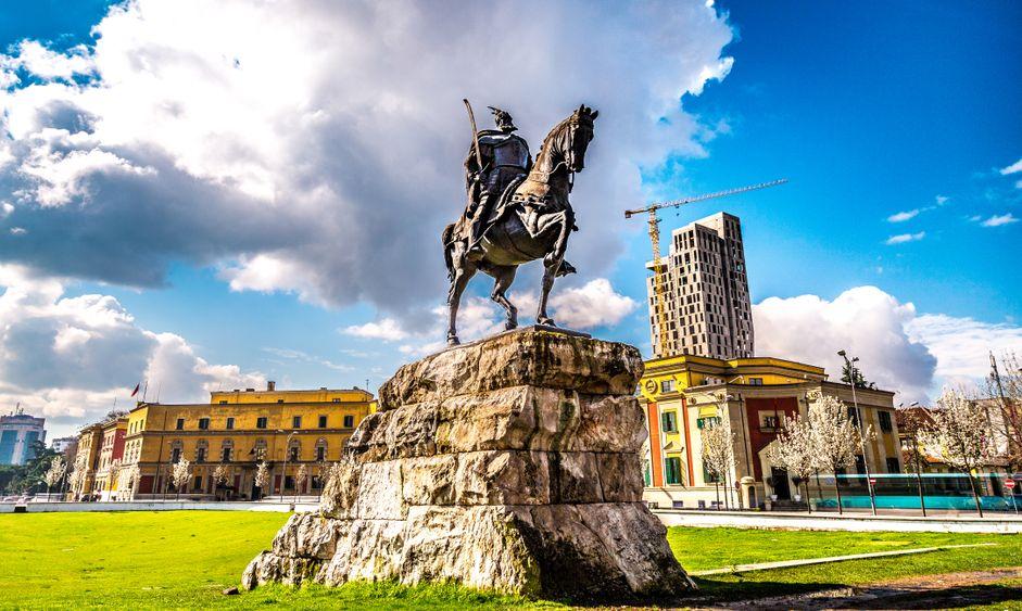 Monument of Skanderbeg in Scanderbeg Square in the center of Tirana, Albania