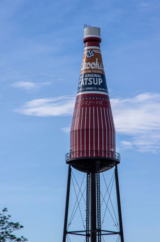 water tower decorated to look like ketchup bottle. The Brooks Catsup landmark is on the national historic landmark registry and promoted as the worlds largest