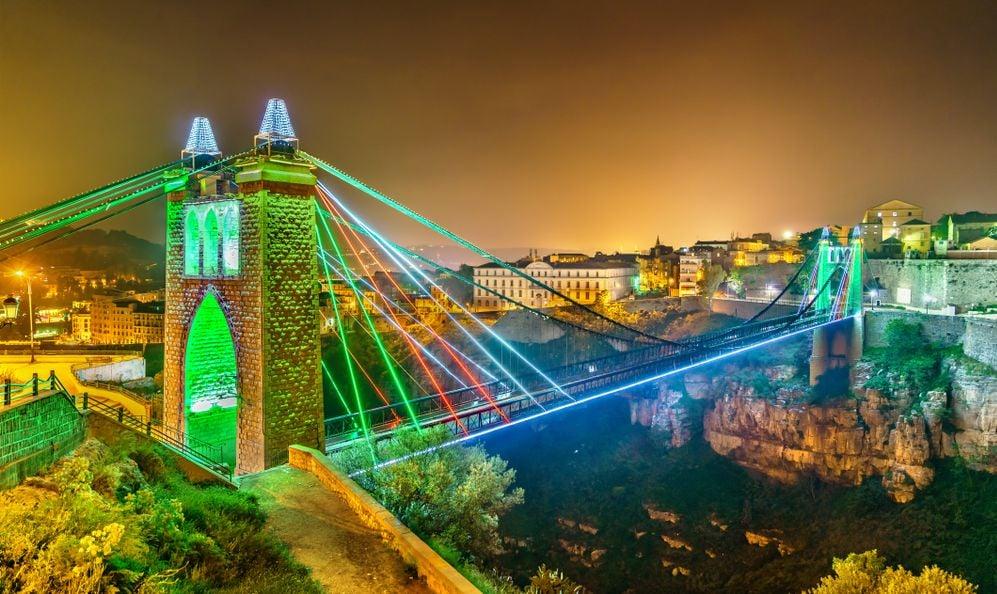 Sidi M'Cid Bridge across the Rhummel River Canyon in Constantine - Algeria, North Africa
