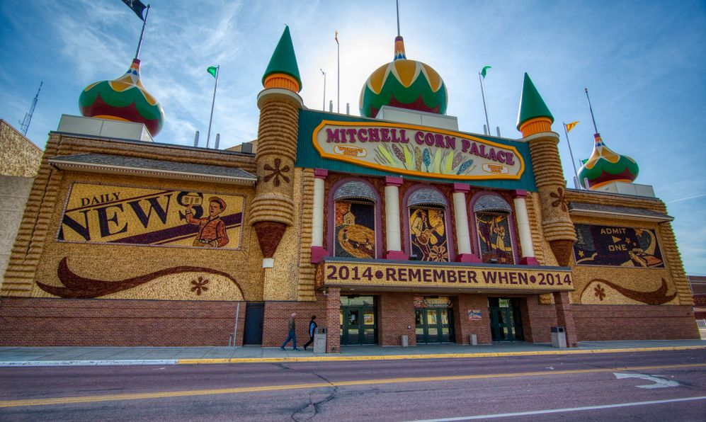 the Mitchell Corn Palace is said to be the only corn palace in the world. Here, it's beautifully backlit by a rising sun