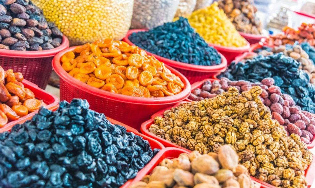 Dried food products sold at the Siab Bazaar in Samarkand, Uzbekistan