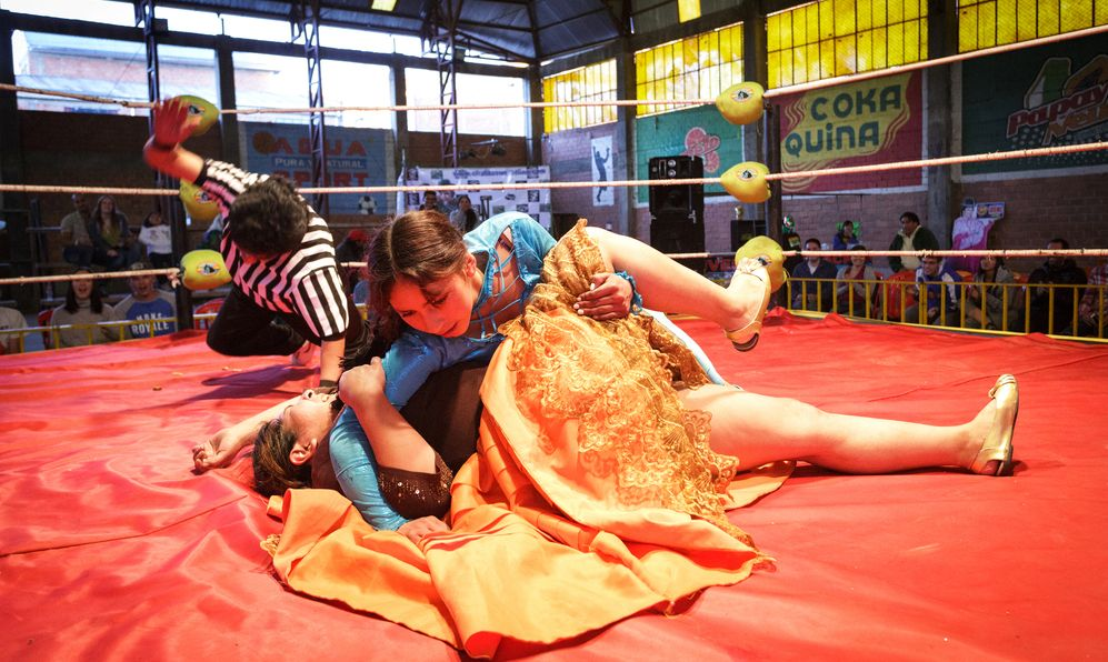 Cholita wrestling is a touristic show. Cholita is the Bolivian women in traditional dress