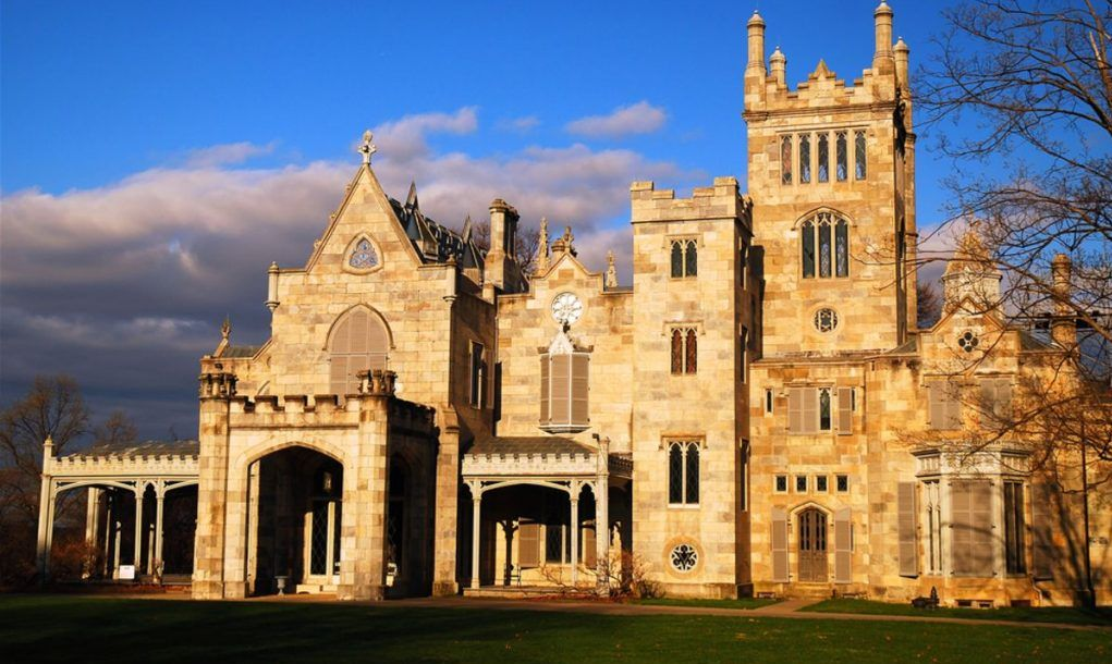 The Jay Gould estate Lyndhurst, built to resemble a medieval castle, is now on the National Register of Historic Places and open to the public
