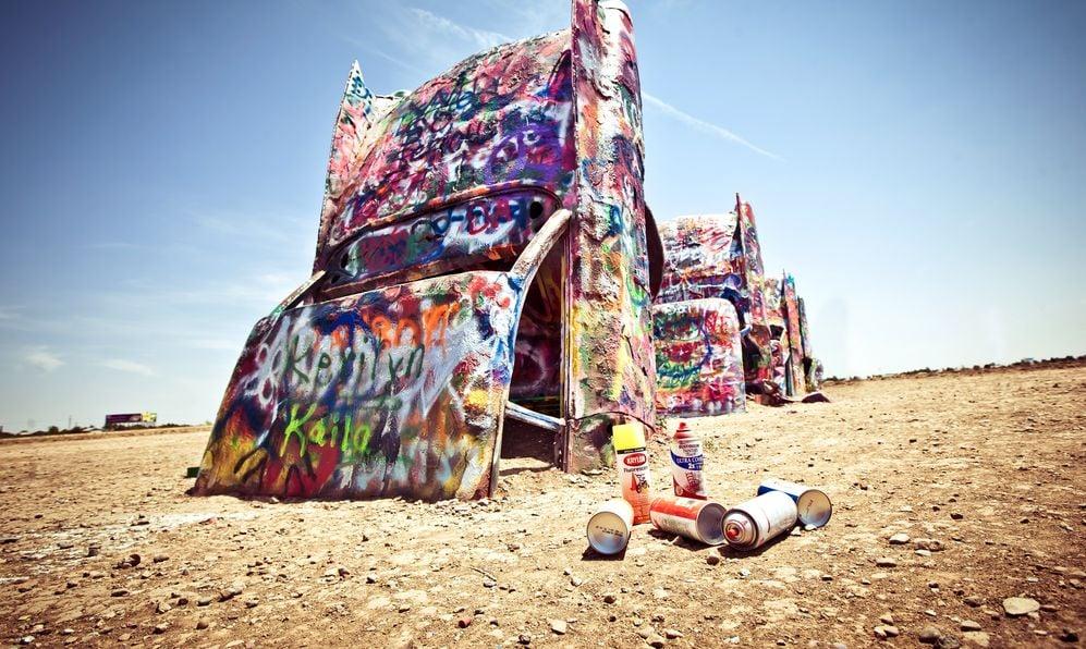 Famous art installation Cadillac Ranch on July 10,2011 near Amarillo, Texas.