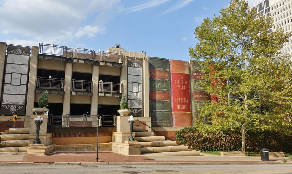 View of the parking garage of the Central Branch of the Kansas City Public Library