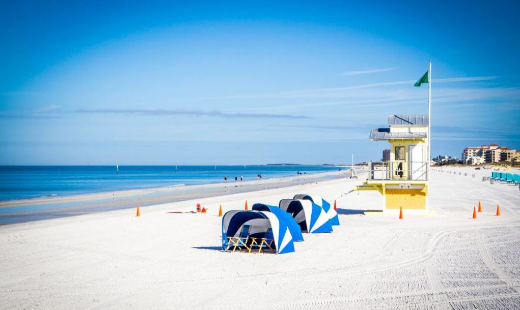 Freshly raked sand and blue skies on Clearwater Beach