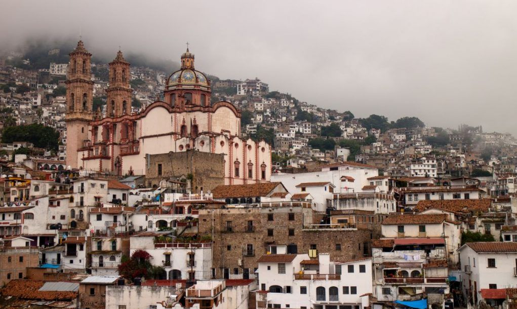 Hazy view of Santa Prisca church in Taxco de Alarcon, Guerrero, Mexico.