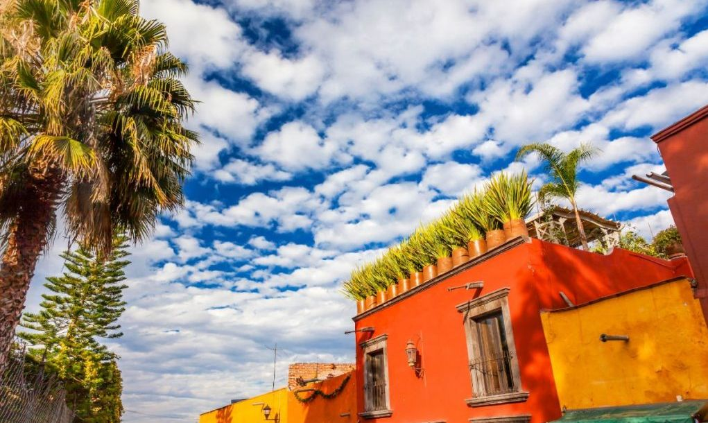Orange Yellow Town Street Tourists Hotels San Miguel de Allende Mexico.