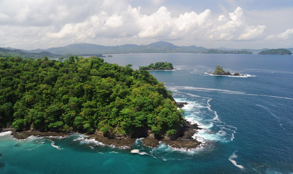Aerial view of western Costa Rica seashore