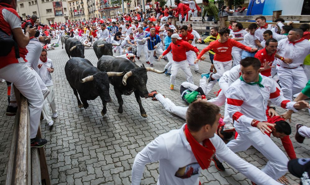 Bulls and people running on the street in the festival of San Fermin.