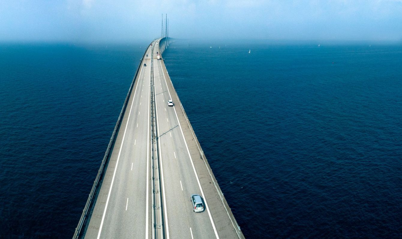 Aerial view of Oresund Bridge connecting Sweden and Denmark