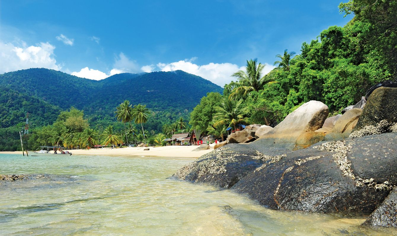 Tioman Island lies off the east coast of Peninsular Malaysia, in the South China Sea. It's a nature reserve, ringed by beaches.