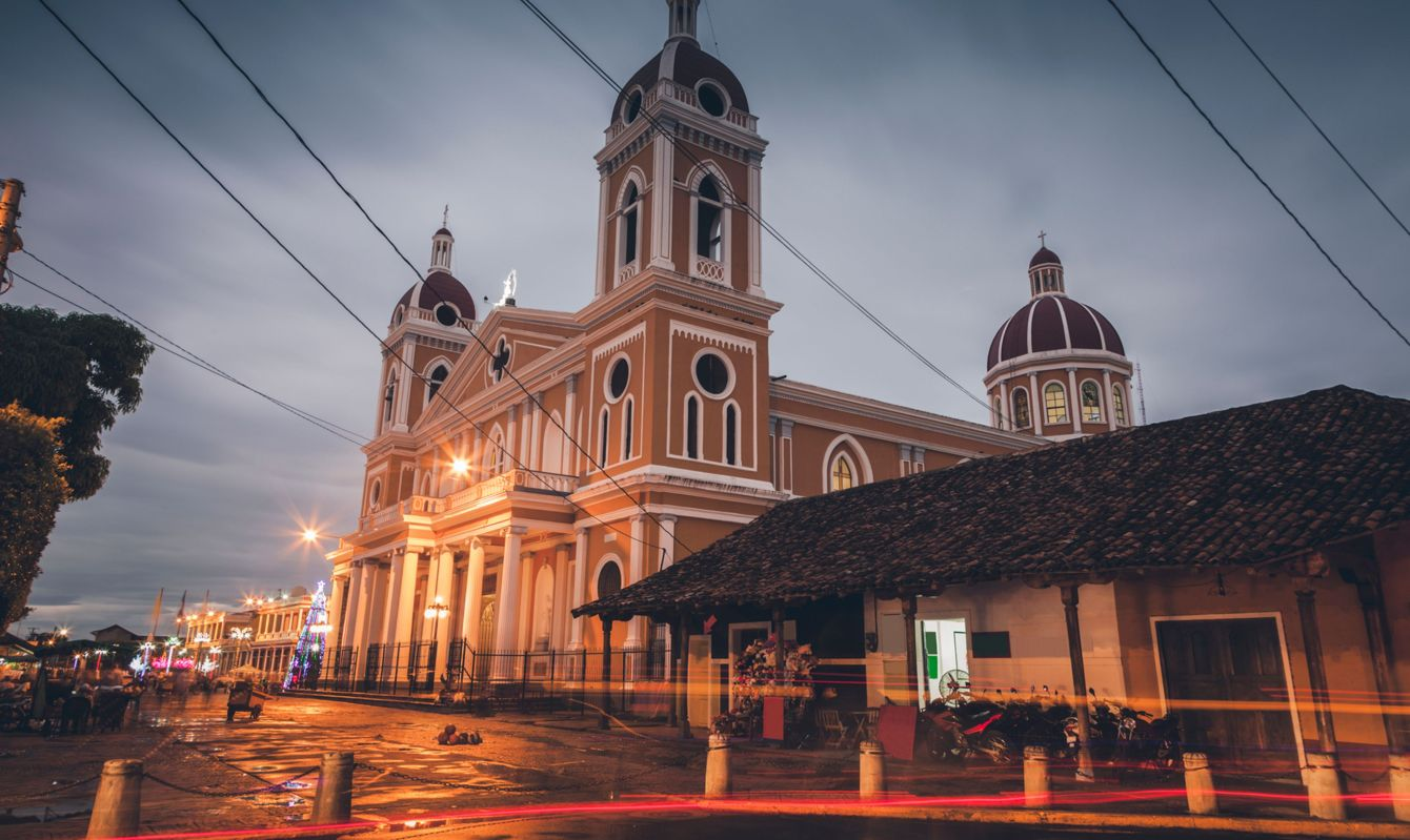 Granada Cathedral and city panorama. Granada, Nicaragua.