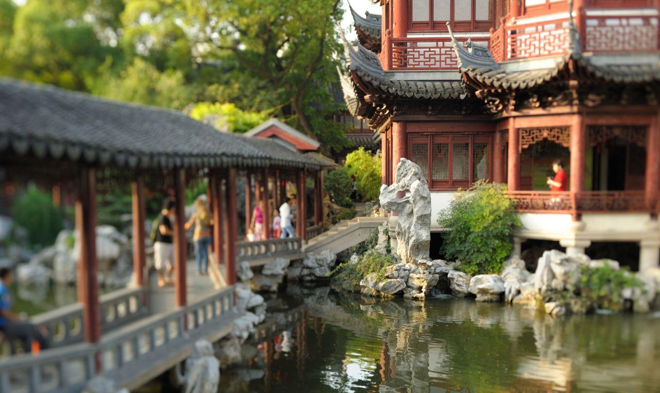 Yu Yuan Garden in sunset warm light, Shanghai, China.
