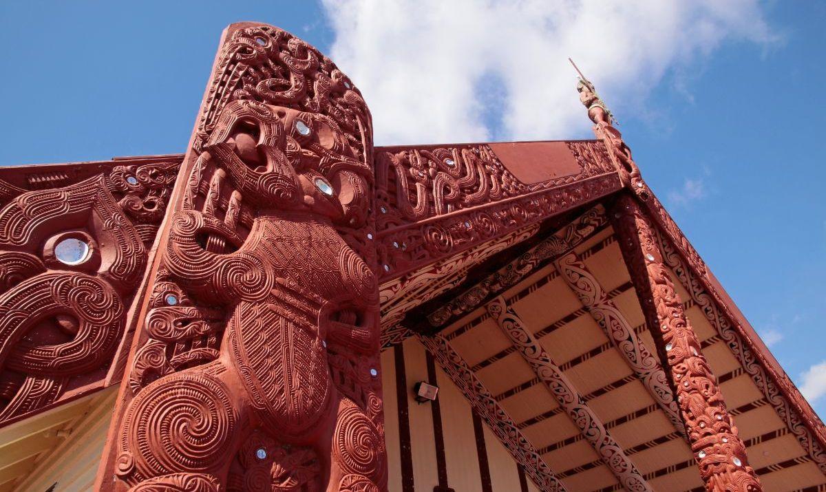 """Maori house in Rotorua, North Island, New Zealand"""