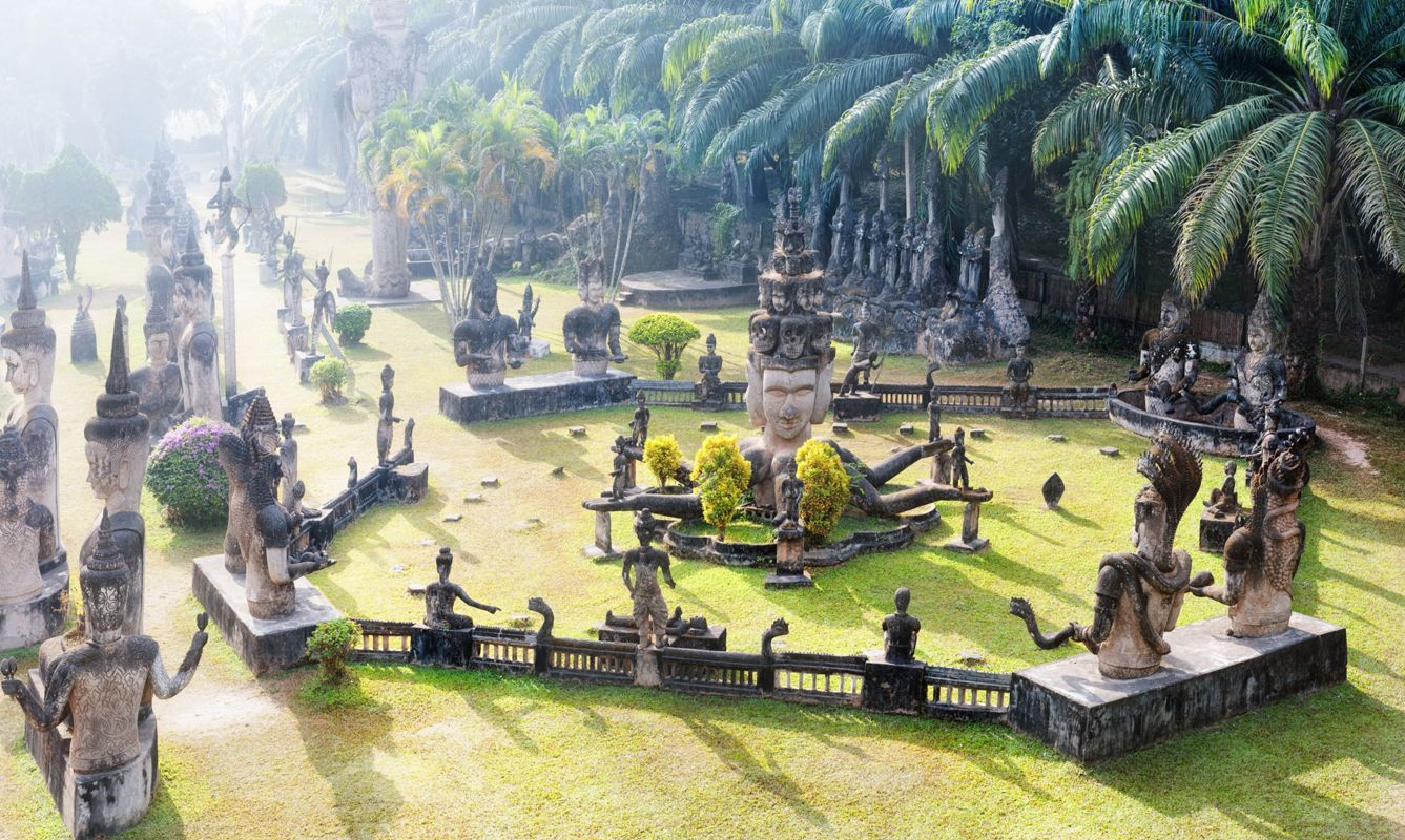 Laos Buddha park.Tourist attraction and public park in Vientiane
