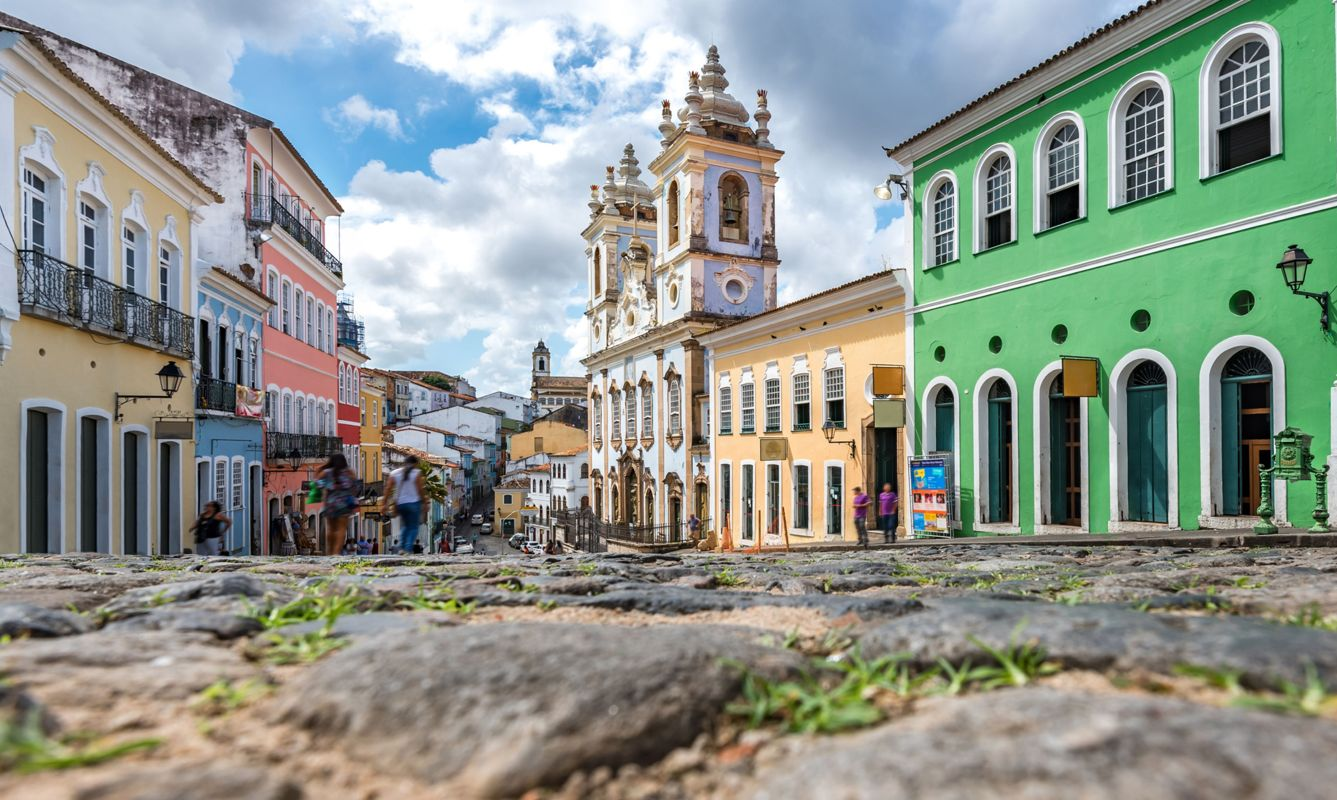 surface view on historic Center Pelourinho in Salvador with church
