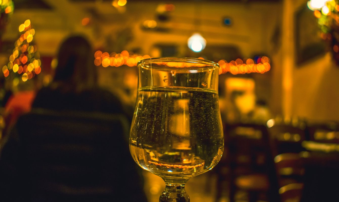 traditional glasses arrangement in Maltese tavern