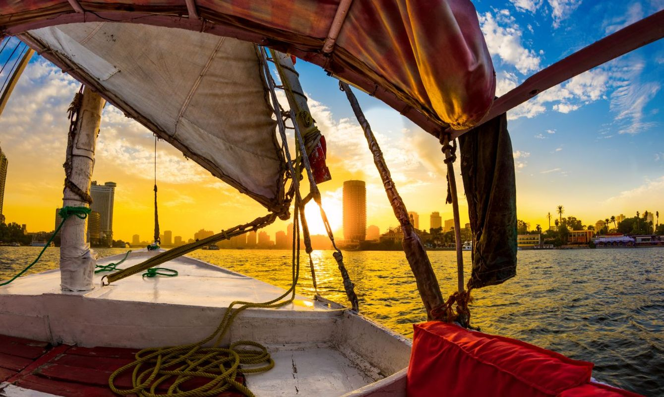 Felucca ride on the Nile at sunset, Cairo, Egypt