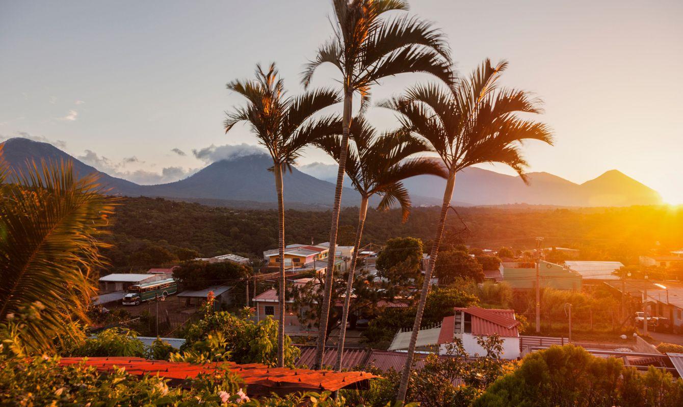 Volcanos of Cerro Verde National Park seen from Juayua. Juayua, Sonsonate, El Salvador.