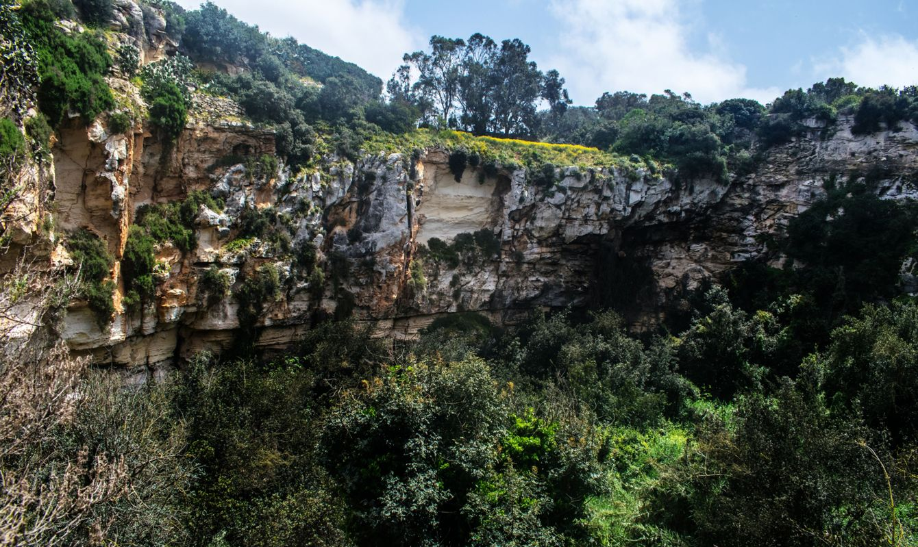 The natural crater found in Qrendi, Malta known as Il-Maqluba.
