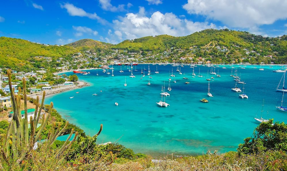 View of Admiralty bay with harbor from Hamilton Fort on Bequia Island, Caribbean Sea region of Lesser Antilles