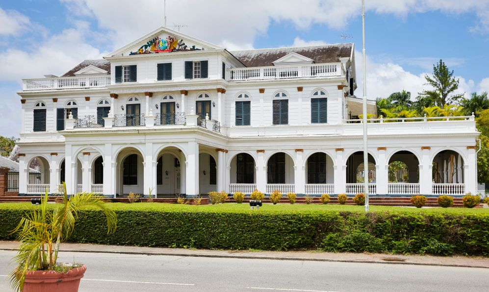The Presidential Palace (former Governors house) on Independence Square in Paramaribo