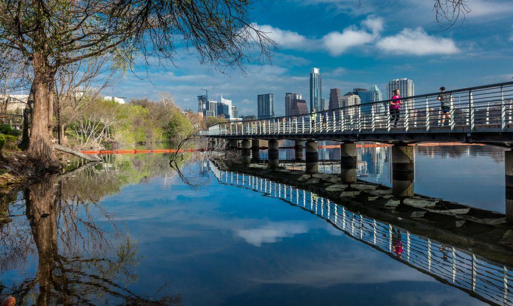 Austin Texas skyline. The Boardwalk Trail at Lady Bird Lake