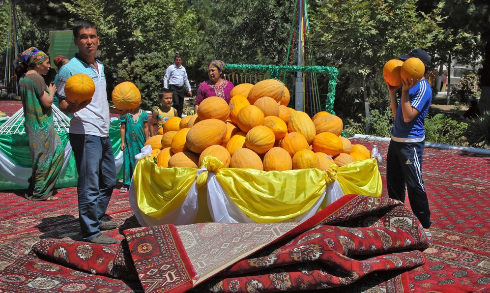 Melon Festival in Turkmenistan. After the Festival, people can take a few melons for free.