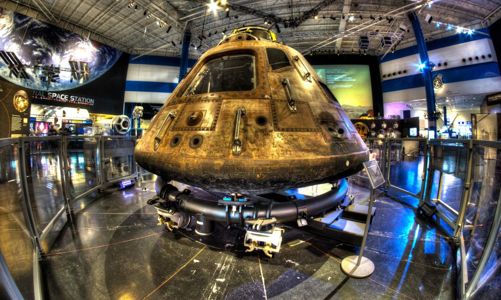 "The Apollo 11 Command Module ""Columbia"" on display at Space Center Houston"
