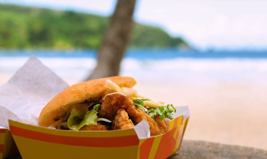 Fried shark and bake fast food by the beach at Maracas Bay
