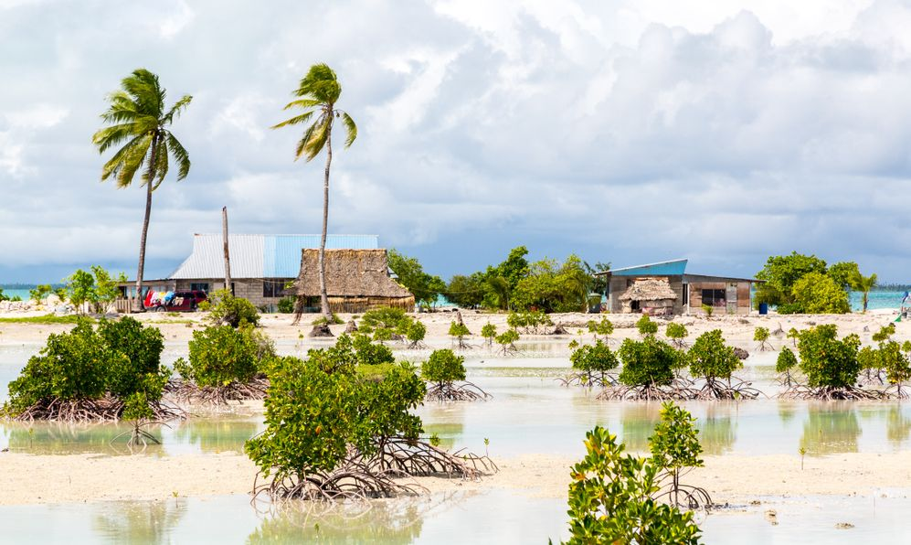 Village on South Tarawa atoll, Kiribati, Gilbert islands, Micronesia