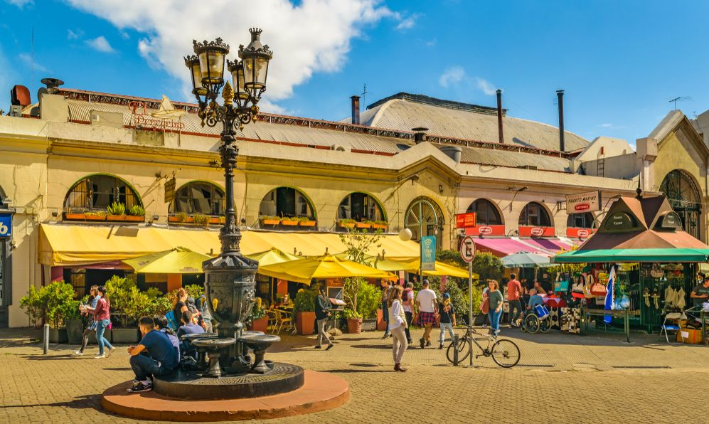 Exterior view of traditional food market at ciudad vieja district in Montevideo city, Uruguay