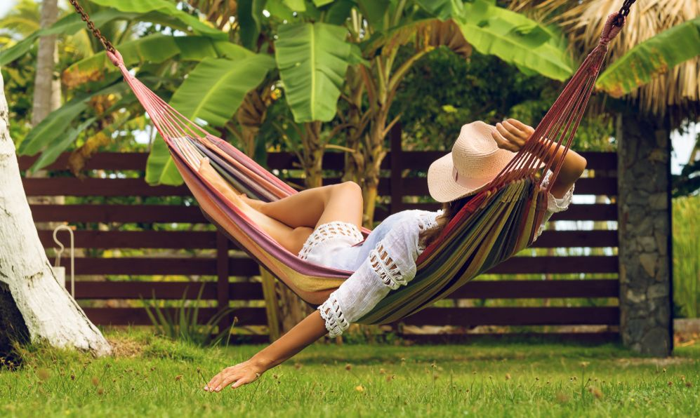 Beautiful woman sleeping in hammock.