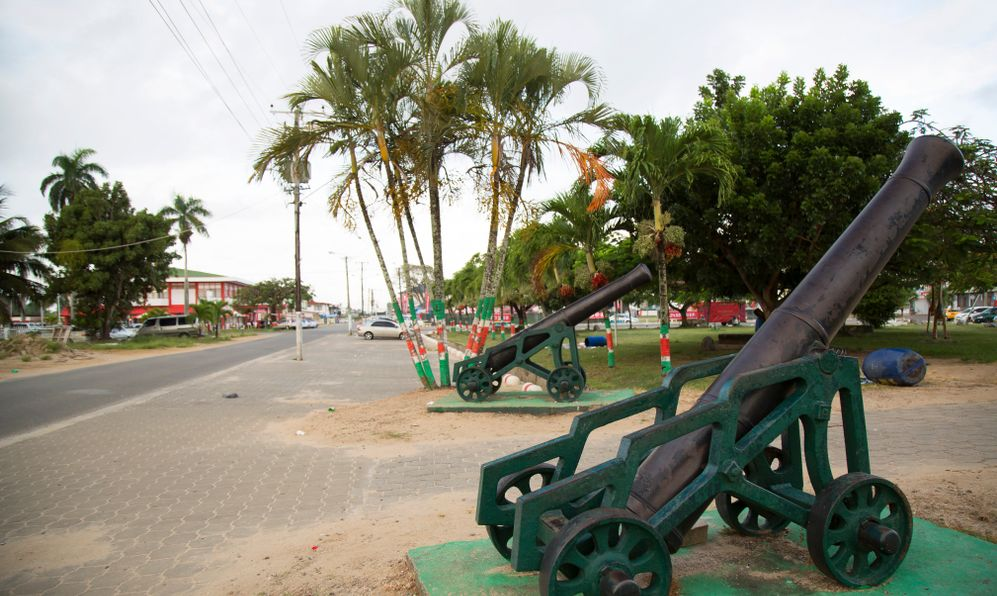 historical cannons displayed in the city center square of tropical Nickerie Suriname