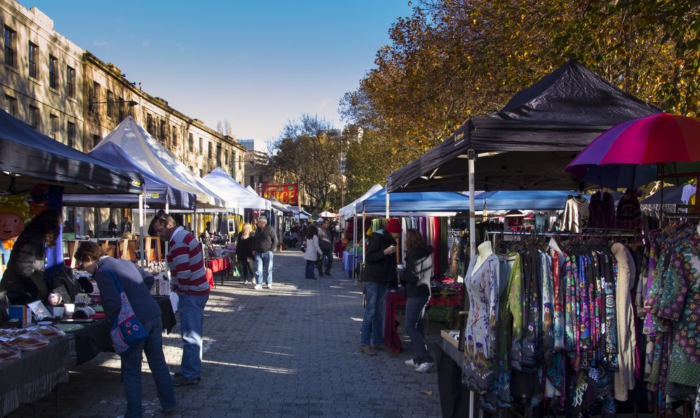 The Salamanca markets at Hobart, Australia.