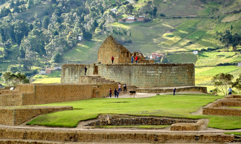 People on the Temple of the Sun at the Incan ruins of Ingapirca in Canar, Ecuador