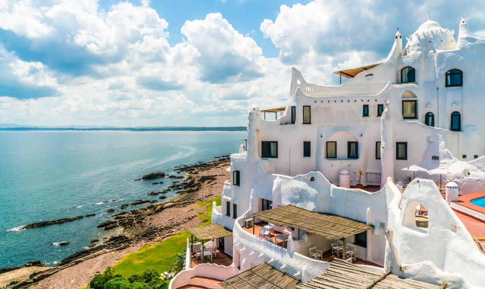 View from the famous Casapueblo, the Whitewashed cement and stucco buildings near the town of Punta Del Este, Uruguay